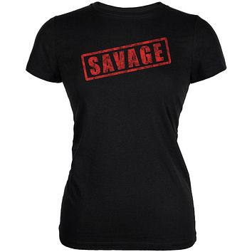 Savage Stamp Red Juniors Soft T Shirt