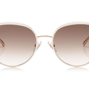 Jimmy Choo - Ello White and Gold Metal Framed with Micro Studs Detailing Sunglasses