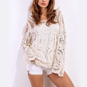Bohemian Women Sexy Blouses Tops 2017 Elegant Ladies Lace Crochet White Shirts Fashion Long Sleeve Casual Loose Blusas Tops