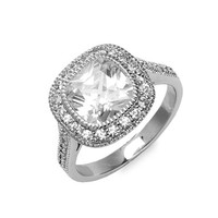 Women's Ariella Collection Cushion Cut Ring - Rhodium / Clear