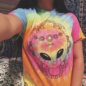 Tie Dye Hippie Flower Princess Alien T-Shirt