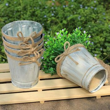 Vintage Metal Iron Keg Flower Pots Planters Hanging Balcony Garden Plant Planter Decor Pot 2O0126