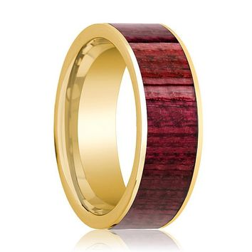 Mens Wedding Band Polished 14k Yellow Gold Men's Wedding Ring with Purpleheart Wood Inlay  - 8mm
