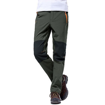 4XL 2016 New Brand Winter Men's Pants Outdoor Sport Softshell Fleece Trousers Hiking Camping Trekking Ski Waterproof Pants VA042