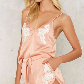 Lavish Alice Made You Blush Satin Pajama Shorts