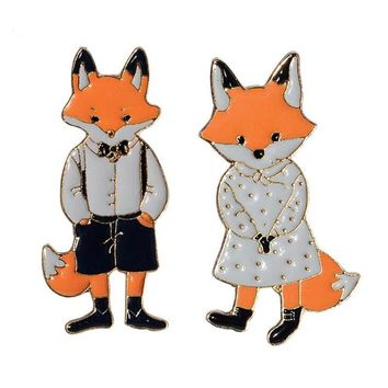 Trendy Fashion Mr Ms Gentleman Lady Fox Enamel Brooch pin Denim Animal Brooches Jacket Pin Shirt Badge Lovers jewelry Gift for couples AT_94_13