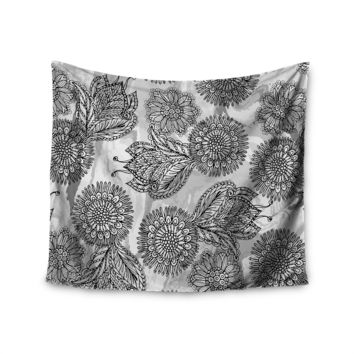 "Julia Grifol ""Flowers In Gray"" Black Gray Vector Wall Tapestry"