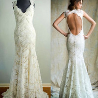 Lace Wedding Dress Mermaid Bridal Dress Backless Bridal Gown vestido de noiva