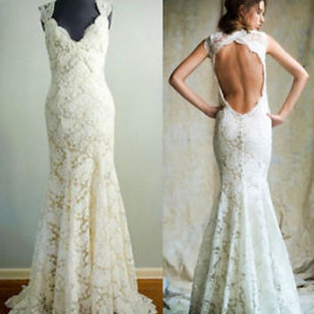 Queen Anna Neck Open Back Country Lace Wedding Dresses Size 2 4 6 8 10 12 14 16