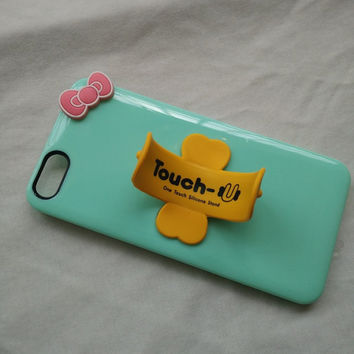 mint green hard case bowknot phone case with Brian circle  stand for iPhone 5 5s