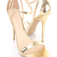 Gold Ankle Strap Single Sole Heels Faux Leather