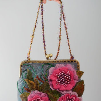 Felted handmade bag with flowers and chain handle women's accessories gift ideas