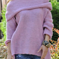 Explosion models large lapel pullover women's loose sweater