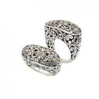 925 Silver Filigree Swirl Ring with 18k Gold Accents- Sizes 6-8