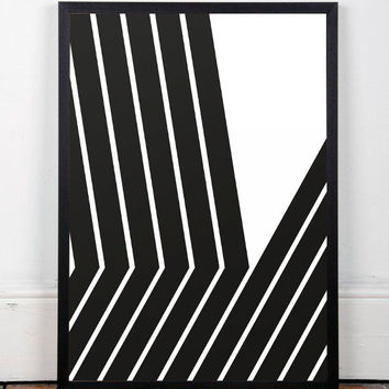 Geometric poster, Modern minimalist, Chic art print, Home decor, Wall poster, Black and white, Abstract print, Nordic art, Scandinavian art