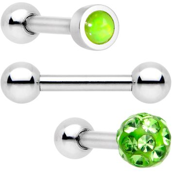 "16 Gauge 1/4"" Lime Faux Opal Inlay Cartilage Tragus Earring 3 Pack"
