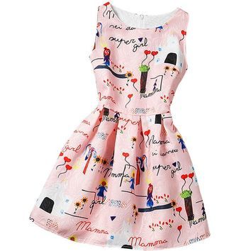 Summer Baby Girls Vintage Print Dress For 12 Years Old Girls Kids Party Dresses Girl Clothes Colorful Children Princess Costume