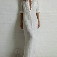 White Deep V Roll-Up Sleeve Maxi Dress