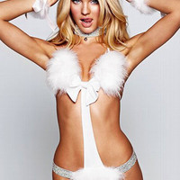 White Halter Fluffy Cutout  Kitty Costume