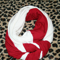 Red and white braided infinity scarf - scarves - knit scarf - women scarves - womens scarf - fall scarf - winter scarf - jersey knit scarf