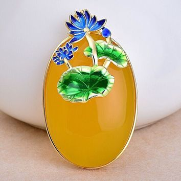 Cloisonne Lotus Flowers Yellow S Natural Chalcedony 925 Pendant