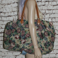 90s floral canvas duffle bag weekender overnight tote gym beach tapestry large pastel grunge hipster boho gypsy festival goth