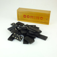 Vintage Dominoes in a Wooden Box with DOMINOES letting on slide lid, Father's day Gift