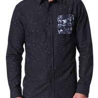 On The Byas Ritchie Pieced Long Sleeve Woven Shirt - Mens Shirt - Black