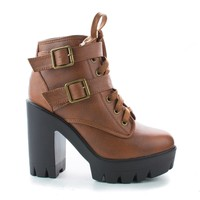 Jonas07 Chestnut Pu By Bamboo, Women Combat Ankle Bootie, High Block Heel, Faux Fur Lining, Lace Up