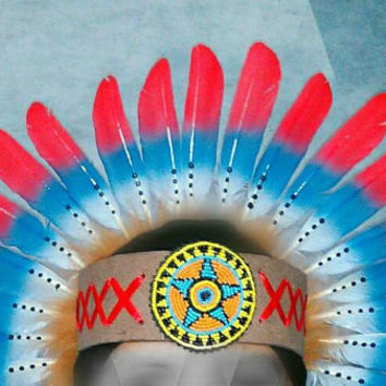 Feather Headdress, Beaded Headband, Native American Headdress, Indian Warbonnet, Rave Outfit, Masquerade, Carnival, Gypsy, Bohemian