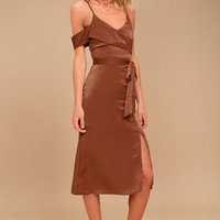 J.O.A. Anouk Rust Orange Satin Midi Dress
