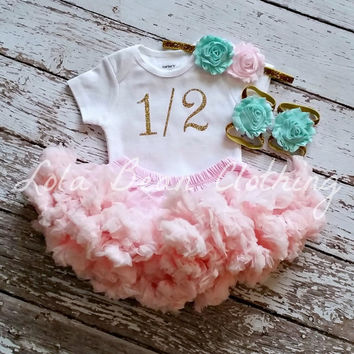 Baby Girl 1/2 Birthday Outfit Cake Smash Photography Props Gold One Onesuit Pink Petti Skirt Mint Headband Half Birthday 6 Months