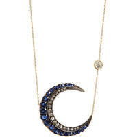 Antique Diamond & Blue Sapphire Crescent Pendant Necklace