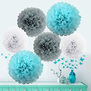Blue White Grey Tissue Paper Pom Poms Birthday Wedding Baby Shower Party Decorations Party Set-DIY | Boys bithday Party