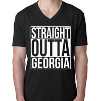 Straight Outta Georgia V Neck T Shirt
