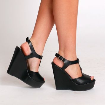 T-Strap Leather Wedges