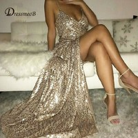 DRESSMECB Gold Sequin Maxi Dress Elegant  Evening Paillette Robe Sexy high slit  Dress spaghetti strap v neck mermaid dresses