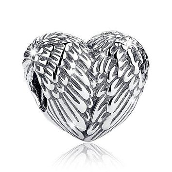 AUGUAU Bamoer 925 Sterling Silver Feathers Angel Wing Heart Shape Charm Bead Fit Bracelet Necklace