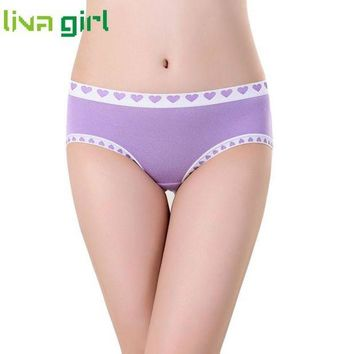 DCCKL6D 10 Colors Sexy Lingerie Women Breathable Heart Printed Panties Lady Female Briefs Knickers Underwear Underpants Low Rise Ma3