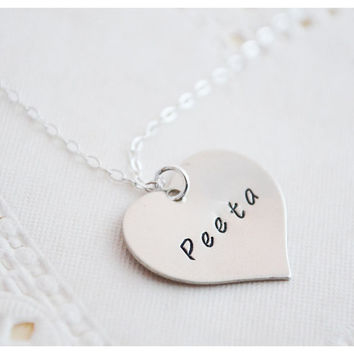 Peeta Mellark Necklace - Heart Necklace - The Hunger Games - Girl on Fire - Sterling Silver