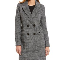 Avec Les Filles Double Breasted Glen Plaid Notch Collar Coat | Dillard's