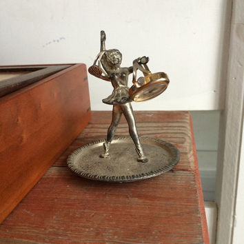 vintage ballerina ring holder, jewelry tray, dish, dancer