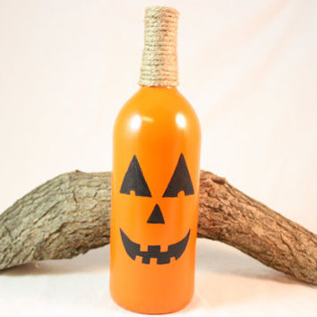 Halloween Decoration, Wine Bottle Pumpkin, Fall Decorations, Halloween Pumpkin