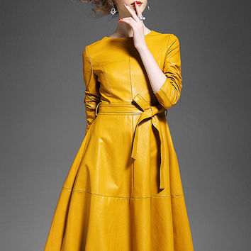 Yellow Long Sleeve Tie-Waist Leather  Faux Leather Dress