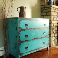Variety of Antiqued Teal Green Chests of Drawers