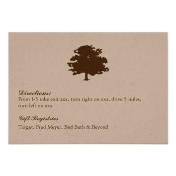 Rusic Tree Wedding Details/Reception Card