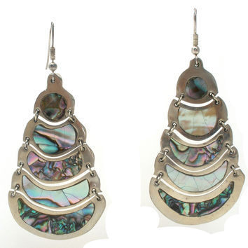 """3"""" Long Sterling Silver Earrings with Abalone"""