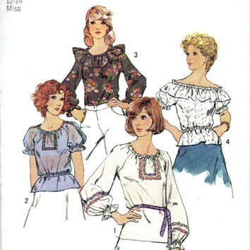 Simplicity 6412 Sewing Pattern Retro 70s Style Boho Hippie Peasant Poet Blouse Off Shoulder Shirt Ruffle Top Uncut Bust 34 36