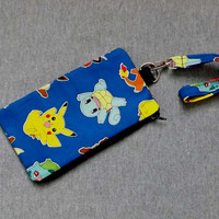 Pokemon Character Lanyard Pouch with optional matching Lanyard  Pikachu Squirtle Meowth
