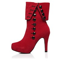 Ankle High Thick Round Toe Button-Up Thin High Heels Women's Winter Boots